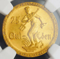 1930 GERMANY/POLAND DANZIG  FREE CITY .  GOLD 25 GULDEN COIN. NGC MS 64