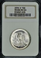 TEXAS 1936-D SILVER COMMEMORATIVE 50C NGC MINT STATE 66
