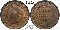 1887 CANADA LARGE CENT DOUBLE PUNCHED 87 PCGS MS 64 BN 1C