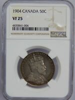 1904 CANADA SILVER 50 CENTS NGC VF 25