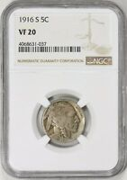 1916-S BUFFALO NICKEL NGC VF-20 CLASHED DIE