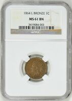 1864-L INDIAN HEAD CENT NGC MINT STATE 61 BN RPD FS-2304 S-5