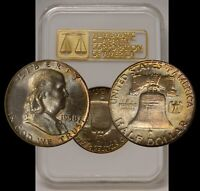 1958 FRANKLIN HALF NGC MINT STATE 65 OLD RAISED GOLD LOGO 3.0 GENERATION 3 RAINBOW TONED