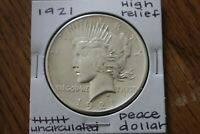 1921   HIGH RELIEF  UNC     PEACE DOLLAR