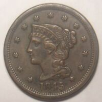 1845 BRAIDED HAIR LARGE CENT AWESOME DETAIL NICE TONING GRAD