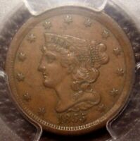 1855 BRAIDED HAIR HALF CENT AWESOME DETAIL PCGS GRADED AU50