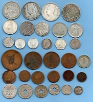 32 OLD EGYPTIAN COINS INCLUDING MANY WITH SILVER CONTENT. EG