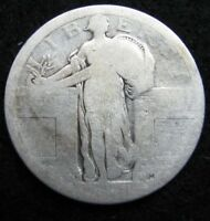 1917-D TYPE ONE QUARTER; EVENLY WORN