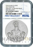 STAR WARS HAN SOLO ULTRA HIGH RELIEF   2 OZ. COIN   NGC PF70