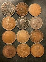 OLD CANADA COIN LOT   1882 1919   12 LARGE CENTS   RARE COIN