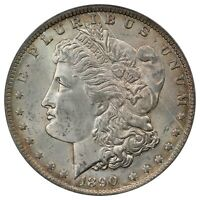1890-O MORGAN SILVER DOLLAR, PCGS MINT STATE 64 CAC, VAM 10A, COMET DIE GOUGE