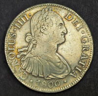 1800 MEXICO CHARLES IV. COLONIAL SILVER 8 REALES COIN. SPANI