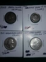 SILVER COINS LOT OF 4 COINS TOTAL US CANADA CIRCULATED COINS