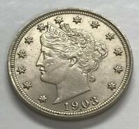 1903 P LIBERTY HEAD V NICKEL UNITED STATES FIVE CENTS BETTER CONDITION COIN