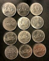 OLD CANADA COIN LOT   DOLLAR   12 AU/UNC COINS   GREAT GROUP