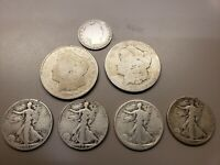 JUNK 90  SILVER COIN LOT  SILVER DOLLARS HALVES ET