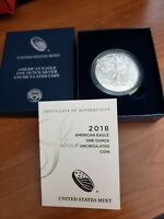 2018 W BURNISHED $1 AMERICAN SILVER EAGLE BOX OGP & COA
