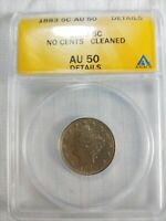 1883 5C V NICKEL AU 50 CLEANED NO CENTS ANACS AUTHENTICATED COIN FAST SHIP