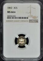 1862 THREE CENT PIECE - SILVER TYPE 3 3CS NGC MINT STATE 66 STAR