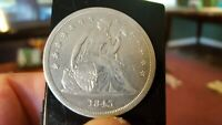 1843 SEATED LIBERTY DOLLAR  EXTRA FINE   EARLY TYPE COIN SHIELD FULL LIB