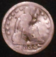 1854-P SEATED LIBERTY SILVER HALF DIME.  SHIPS FREE
