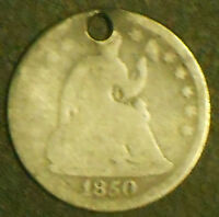 1850 SEATED LIBERTY SILVER HALF DIME.  SHIPS FREE