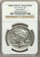 1921 HIGH RELIEF  NGC WEST 57TH ST COLLECTION  SILVER PEACE DOLLAR $1 EST UNC
