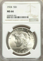 1924  NGC MINT STATE 66  SILVER PEACE DOLLAR $1  $575  FROSTY BLAST WHITE GEM