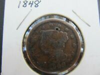 1848 U.S. BRAIDED HAIR LARGE CENT CIRCULATED UNGRADED SMALL HOLE