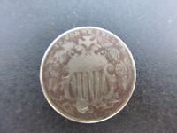 1868 SHIELD NICKEL PLUGGED FULL DATE CIRCULATED UNGRADED 5C