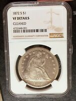 1872-S NGC VF DETAILS SEATED LIBERTY SILVER DOLLAR  9,000 MINTAGE KEY DATE