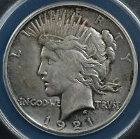 1921 $1 PEACE DOLLAR ANACS MINT STATE 60 DETAILS CLEANED