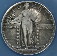 1923-S 25C STANDING LIBERTY QUARTER ANACS VF DETAILS CLEANED