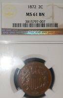 1872 2C TWO CENT PIECE NGC MINT STATE 61 BN MAGNIFICENT, EVEN CHOCOLATE COLOR