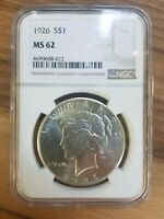 1926 PEACE DOLLAR NGC MINT STATE 62