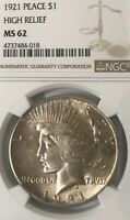 1921 PEACE SILVER DOLLAR   MS62 NGC