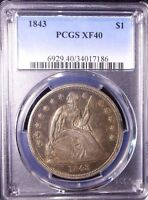 1843 $1 LIBERTY SEATED DOLLAR PCGS EXTRA FINE 40 BEAUTIFUL, NATURAL, EXCEPTIONAL TONE
