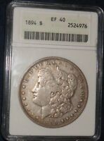 1894 $1 MORGAN SILVER DOLLAR ANACS EXTRA FINE 40 OLDER STYLE HOLDER - HIGHLY DESIRABLE