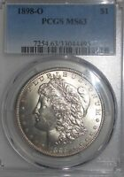 1898-O $1 MORGAN SILVER DOLLAR PCGS MINT STATE 63  NOTE: VAM 13A  NEAR DATE