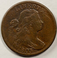 1803 1C DRAPED BUST LARGE CENT UNSLABBED