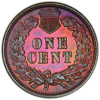 1887 INDIAN HEAD CENT BEAUTIFUL TONING OBVERSE AND REVERSE PCGS MS DET. TRUEVIEW