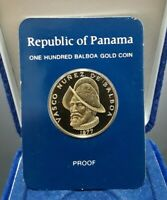 1977 PANAMA 100 BALBOAS GOLD PROOF   FRANKLIN MINT SEALED WITH BOX AND COA