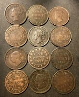 OLD CANADA COIN LOT   1876 1901   12 LARGE CENTS   RARE COIN