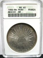 1904 MO MEXICO PESO CAP AND RAYS ANACS MS60 UNCIRCULATED