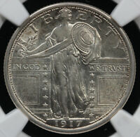 1917-S 25C TYPE 1 STANDING LIBERTY QUARTER NGC AND CAC AU 58