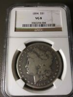 1894-P MORGAN SILVER DOLLAR VG-8 BY NGC   DATE, NO PROBLEMS