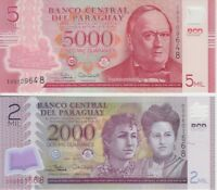 PARAGUAY BANKNOTE P228 234 PAIR 2000   5000 GUARANIES 2017 POLYMER UNC