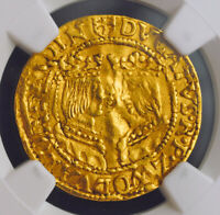 1597 NETHERLANDS ZWOLLE CATHOLIC MONARCHS.  GOLD DUCAT COIN. NGC XF 45