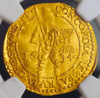 1634 NETHERLANDS WEST FRIESLAND. DUTCH GOLD KNIGHT DUCAT COIN. NGC MS 62
