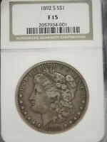 1892 S MORGAN SILVER DOLLAR NGC CERTIFIED COIN GRADED F15  4001